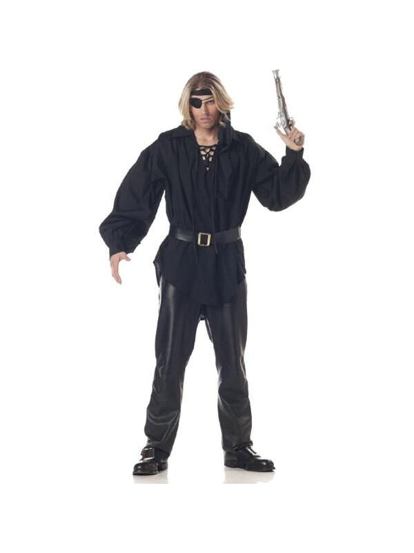 Adult Men's Black Pirate Shirt-COSTUMEISH