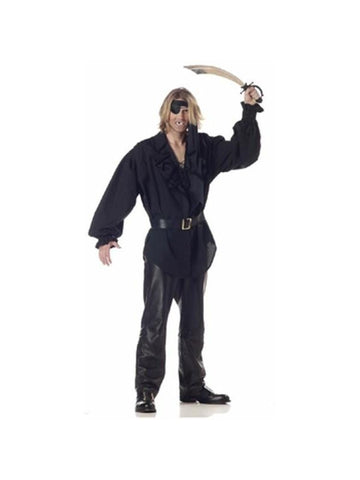 Adult Men's Black Swashbuckler Pirate Shirt-COSTUMEISH