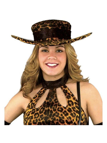 Ladies Leopard Pimp Hat-COSTUMEISH