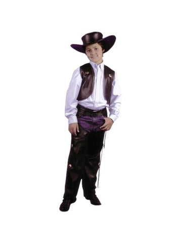 Child's Black Cowboy Leather Chaps & Vest Costume