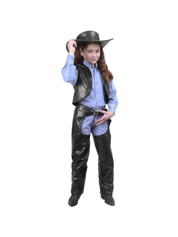 Child's Cowgirl Leather Chaps & Vest Costume-COSTUMEISH