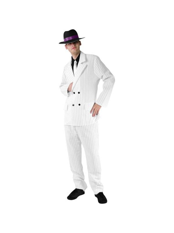 Adult Men's White Gangster Suit Costume-COSTUMEISH