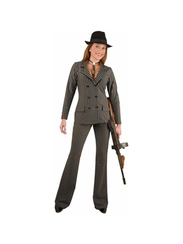 Adult Wide Striped Gangster Costume-COSTUMEISH