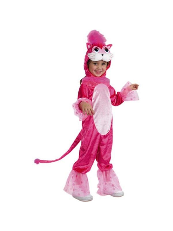 Toddler Pink Plush Cat Costume-COSTUMEISH
