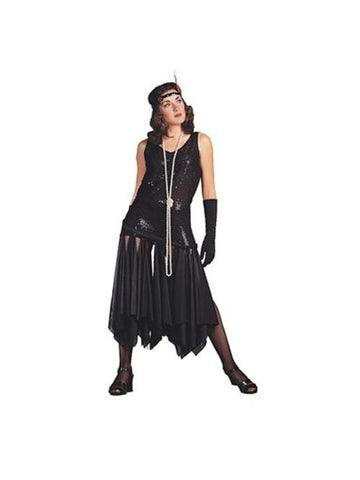 Women's Black 20's Scarf Flapper Dress Costume-COSTUMEISH