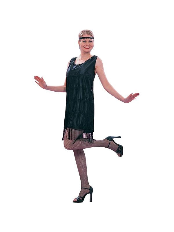 Adult Roaring 20s Black Flapper Dress Costume-COSTUMEISH