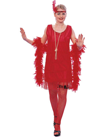 Adult Roaring 20s Red Flapper Gatsby Dress-COSTUMEISH