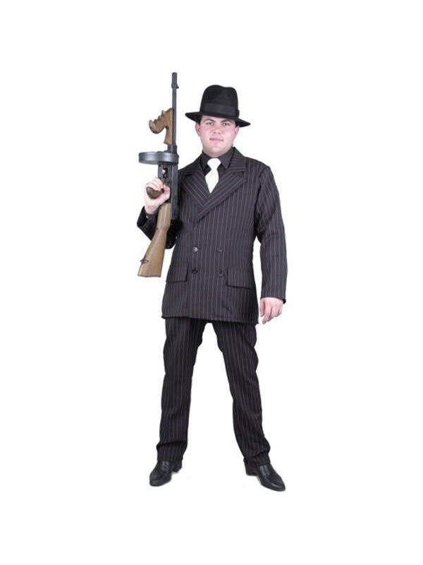 Adult Black/White Gangster Suit Costume-COSTUMEISH