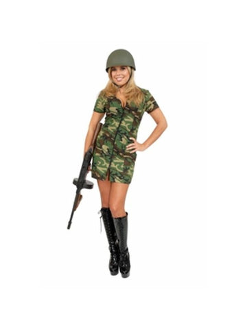Adult Sexy GI Army Girl Costume-COSTUMEISH