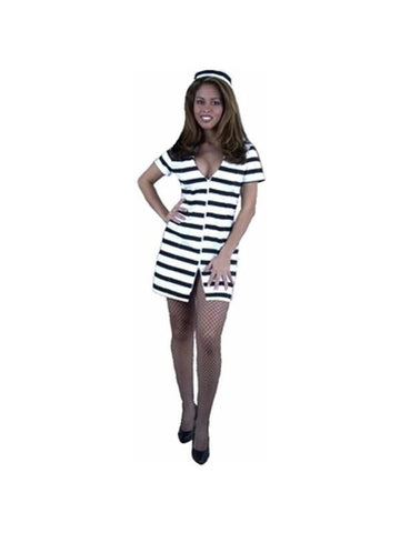 Adult Sexy Striped Prison Costume-COSTUMEISH