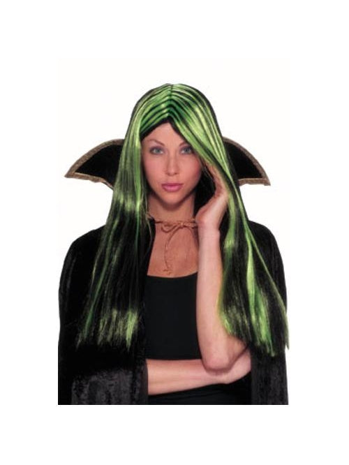 Lime & Black Witch Wig-COSTUMEISH