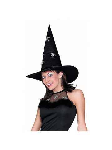 Adult Silver Spider Glitter Witch Hat-COSTUMEISH