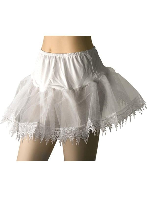 Adult White Teardrop Lace Petticoat-COSTUMEISH