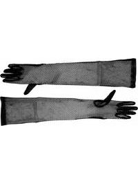 Long Black Fishnet Gloves-COSTUMEISH
