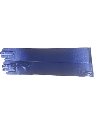 Opera Length Royal Blue Satin Gloves