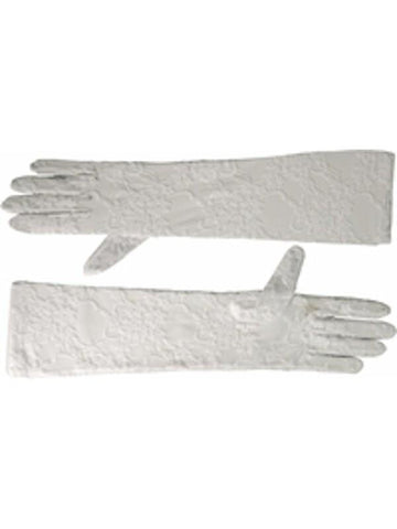 Adult White Opera Length Stretch Lace Gloves-COSTUMEISH