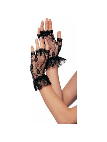 Adult Black Fingerless Lace Gloves