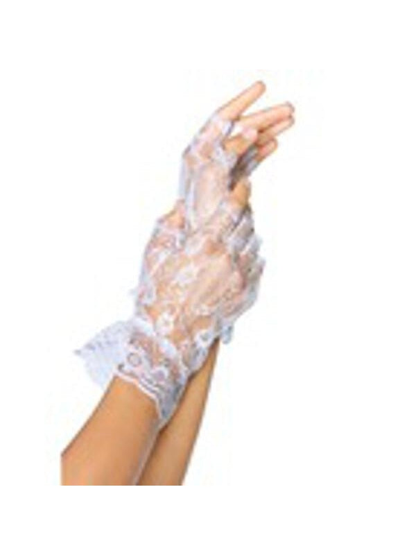 Adult White Fingerless Lace Gloves-COSTUMEISH
