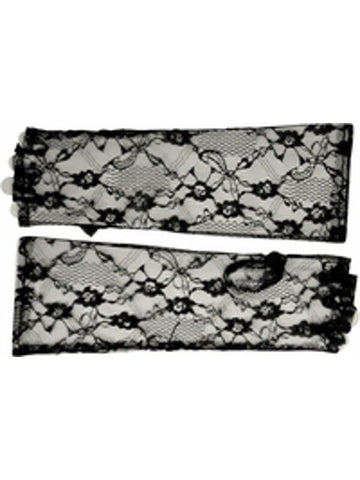 Adult Elbow Length Fingerless Black Lace Gloves-COSTUMEISH