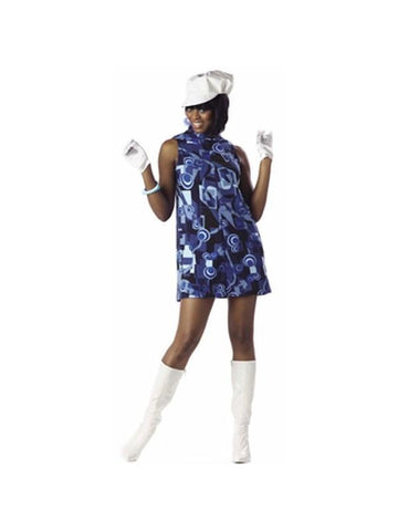 Adult 60's Blue Swirl Go Go Girl Costume