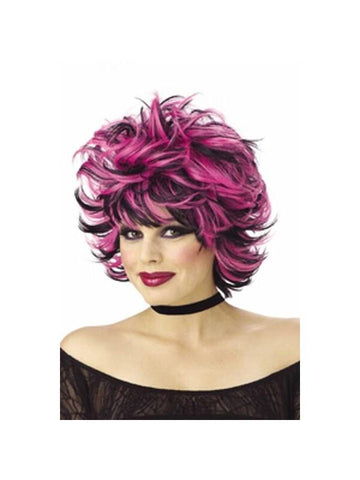 Adult Pink & Black Sexy Shag Wig-COSTUMEISH