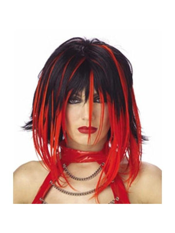 Adult Black & Red Super Streak Wig-COSTUMEISH