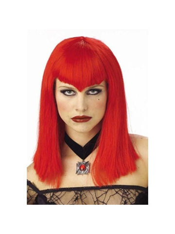 Adult Red Vampiress Wig-COSTUMEISH
