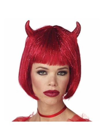 Adult Shimmer Red Devil Wig With Horns