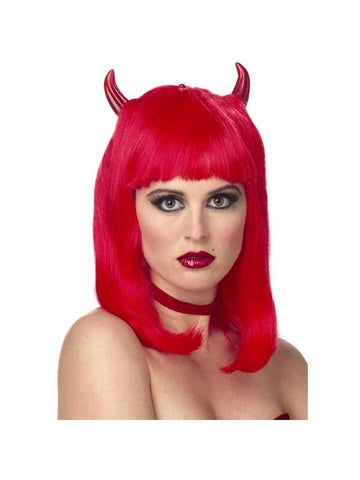 Adult Bright Red Devil Wig With Horns-COSTUMEISH