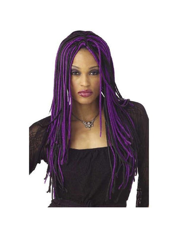 Adult Twisted Long Purple & Black Wig