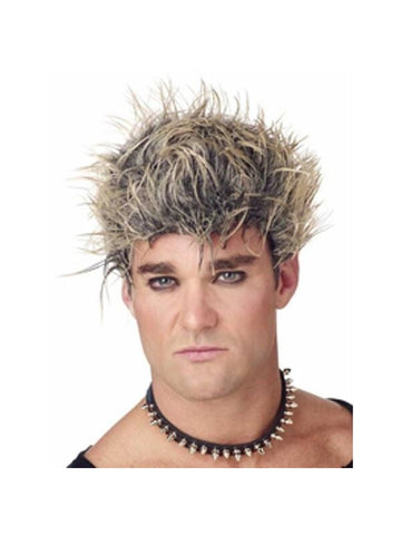 Men's Black & Blonde Spiked Wig