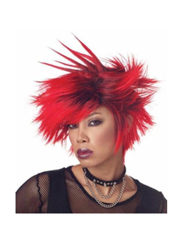 Women's Black & Red Spiked Wig