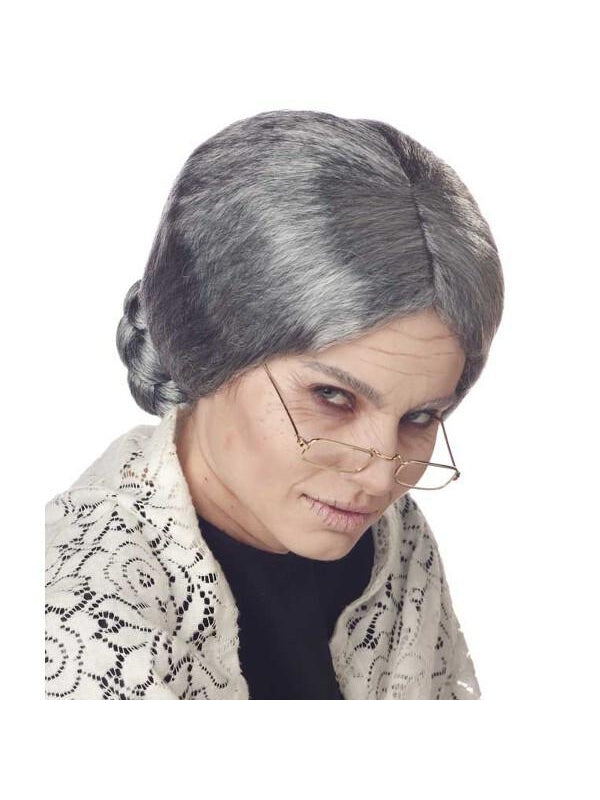 Adult Woman's Old Lady Grey Wig-COSTUMEISH