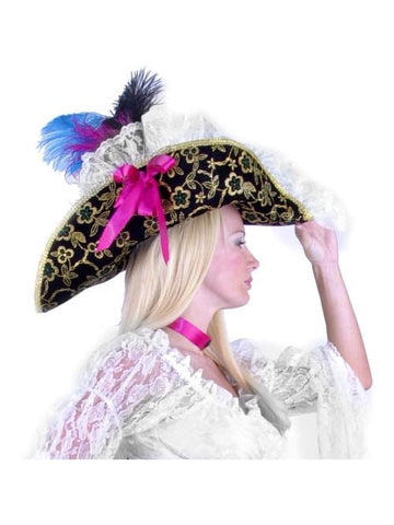 Women's Black Lacey Pirate Hat-COSTUMEISH