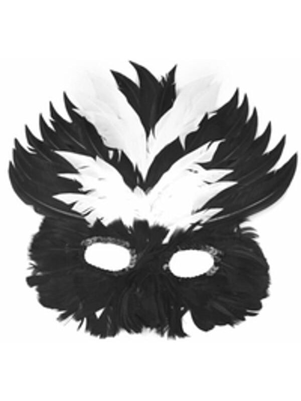 Adult Black & White Feather Eye Mask-COSTUMEISH