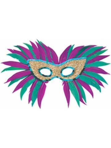 Adult Sequin Feather Mardi Gras Eye Mask-COSTUMEISH