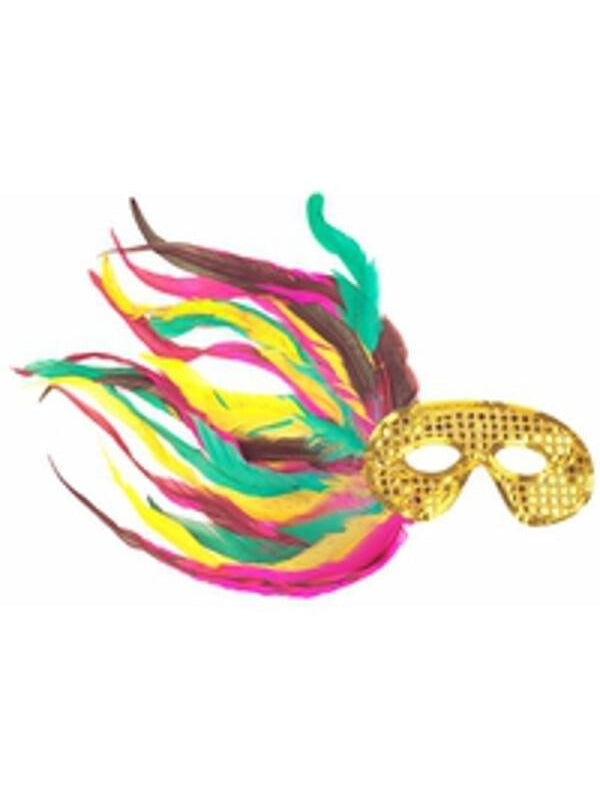 Adult Gold Sequin Side Feather Eye Mask-COSTUMEISH