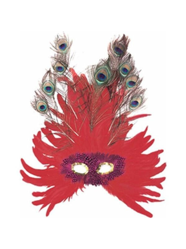 Adult Red Feather Peacock Eye Mask-COSTUMEISH