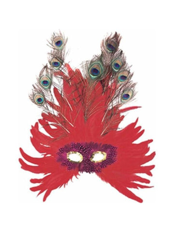 Adult Red Feather Peacock Eye Mask