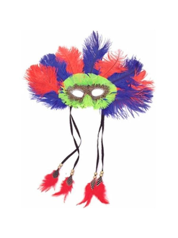 Adult Lime Feather Eye Mask-COSTUMEISH