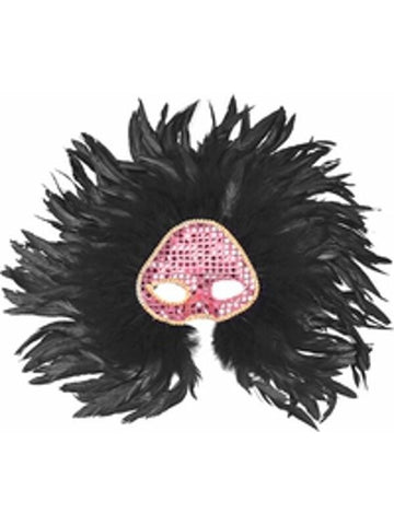 Adult Black Wicked Feather Eye Mask-COSTUMEISH