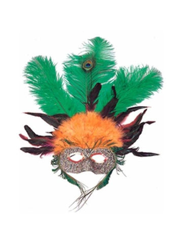 Adult Orange & Green Feather Eye Mask
