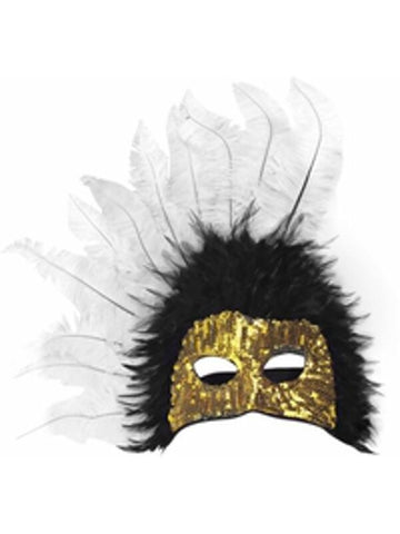 Adult Black & White Feather Gold Sequin Half Mask