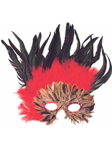 Adult Red & Black Feather Eye Mask