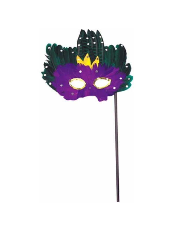 Adult Mardi Gras Feather Stick Mask-COSTUMEISH