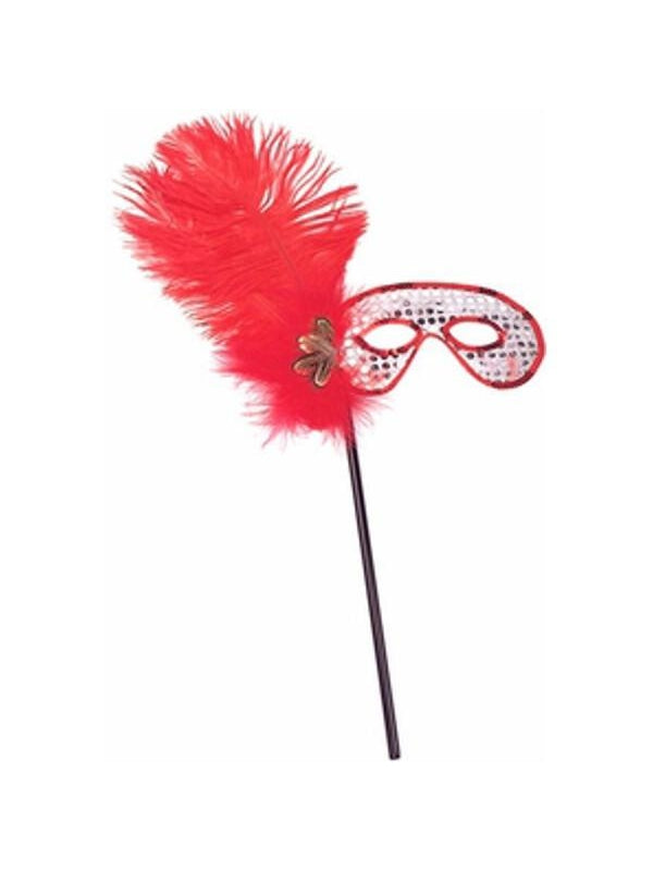 Adult Red Feather Stick Eye Mask-COSTUMEISH
