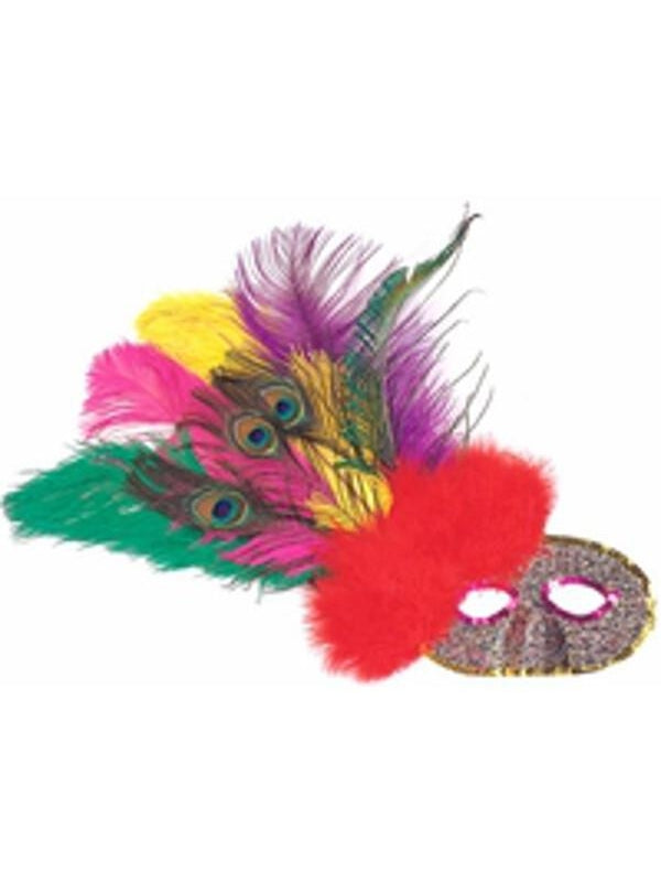Adult Side Feather Party Eye Mask-COSTUMEISH