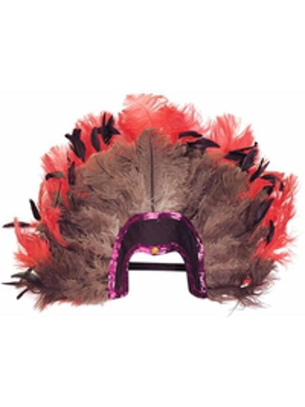 Adult Red & Black Feather Headpiece-COSTUMEISH