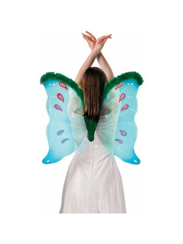 Adult Green Marabou Costume Wings-COSTUMEISH