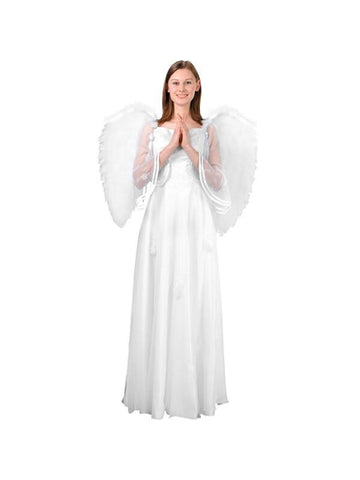 Adult Large White Feather Angel Wings-COSTUMEISH
